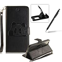 Wallet Case for iPhone 6S,Flip Case with Strap for iPhone 6,Herzzer Book Style Cute Black Panda Pattern Magnetic Stand Card Holder Case with Soft Inner for iPhone 6/6S 4.7 inch + 1 x Free Black Cellphone Kickstand + 1 x Free Black Stylus Pen