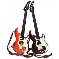 Guitarra acústica clásica de 4 cuerdas con correas de la guitarra - juguete educativo de los niños de B (color al azar)