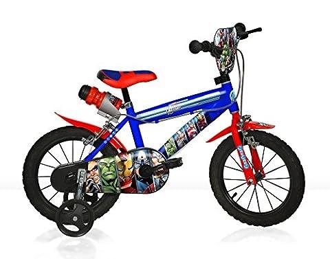 AVENGERS initial MTB 14 pouce KIDSBIKE boy vélo, bicyclette, enfant-velo, bécane, vélocipède, rouler en vélo, faire du vélo..bleu..stabilisateurs..bidon..gardeboue.. 14pouce 3-6 ans