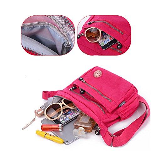 TTD Womens Multi Pocket Tasche Tasche Umhängetasche Tasche Messenger-TypC Purple