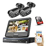 SANNCE 4CH 720P CCTV DVR Recorder with 2 PCS Day Night Weatherproof Security Cameras System with 1TB Hard Drive, Hybrid Video Recorder, HDMI Output, QR Code Scan Quick Access, Motion Detection, Email Notification