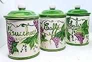 Set 3 Barattoli Sale Zucchero Caffé Linea Uva Ceramica Le Ceramiche del Castello Handmade Pezzi Unici Made in