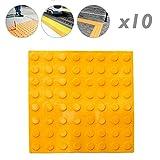 PrimeMatik - Pavimento tattile per non vedenti 40x40cm con cerchi di arresto e allarme giallo 10-pack
