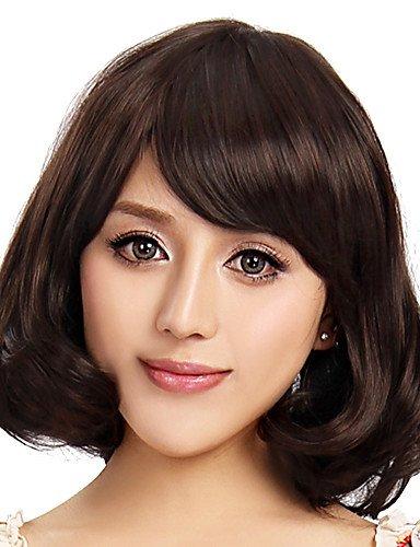 Capless court synthétique de haute qualité perruque brune