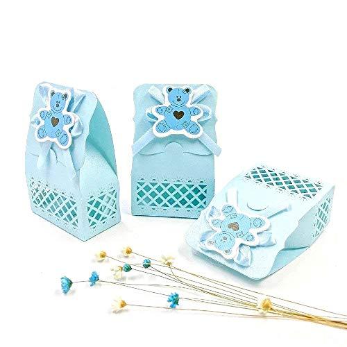 Jzk 24 blu busta confetti carta bustina azzurre scatola portaconfetti scatolina bomboniara segnaposto per battesimo nascita comunione compleanno bimbo bambino