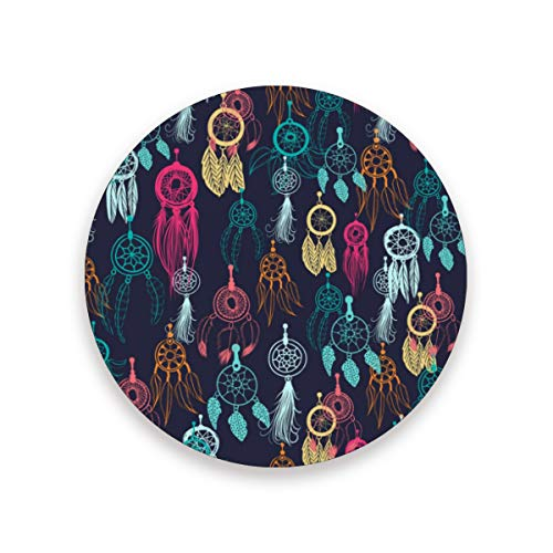 Vinlin Round Drink Coaster Indian Dreamcatcher Feather Hot Resistant Ceramic Coaster with Wooden Cork Base for Coffee Mug Tea Cup,1 Piece, cerámica, Multicolor, 4 Piece