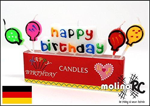 molinoRC 2X Geburtstagskerze | Happy Birthday Kerze | Geburtstag-Kerze mit Schriftzug und Luftballons | 5 Dochte | 2er Set - 1 Preis | Blitzversand BRD