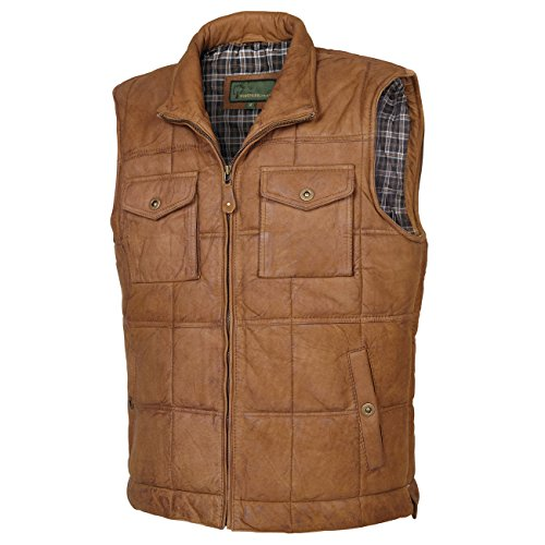 51HwjxrFBtL. SS500  - Monty: Men's Tan Leather Bodywarmer