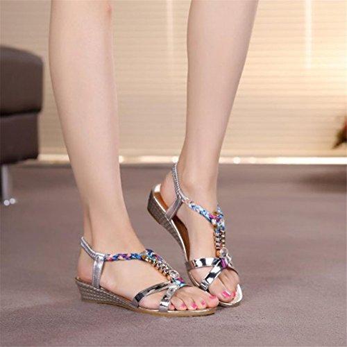 LHWY Damen Women Fashion Casual Sandalen Beach Schuhe Silver