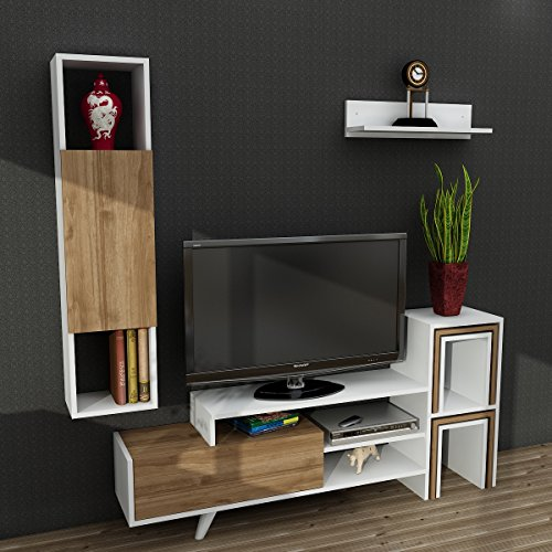 TV Board Lowboard Fernsehtisch FernsehHängeschrank Sideboard, Fernseh Hängeschrank Tisch für Wohnzimmer I Weiß Walnuss I Novella K145 I 155,5 x 29,5 x 74 cm