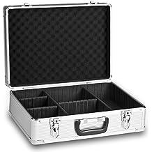 Mantona Basic M - Maleta con compartimentos para equipo fotográfico, color negro y plateado