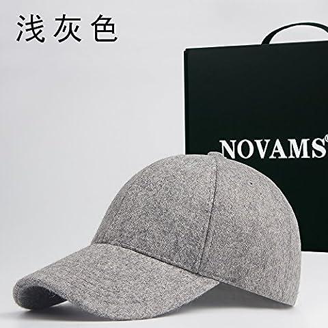 Dngy*Cap bambini autunno inverno lana una curva tende da sole cappello da baseball caldo casual solido maschio colore del cappuccio di marea , grigio chiaro