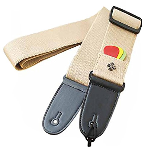 da-jia-inc-592-cotton-guitar-strap-with-leather-ends-pick-pocket-and-3pcs-guitar-picks-khaki