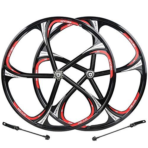 HYHD Ruedas Carretera Juego De Ruedas De Bicicleta Rodamiento De Seis Orificios Buje Disco Llantas De Aleación De Aluminio Y Magnesio Llantas MTB 26C,Black