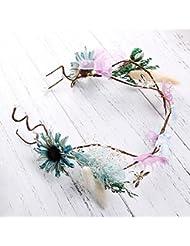 Couronne de coiffure de mariée, couronne à main, fleurs guirlandes de photographie de bord de mer, accessoires de robe de mariée