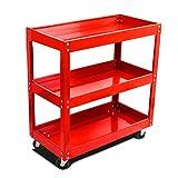 Panana Heavy Duty Garage Trolley Workshop 3 Tier Storage Wheel Cart Shelf Tray DIY Tool 450lb (Red)