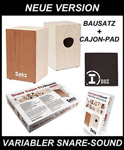 Sela Snare Cajon Bausatz - neue Ausführung - mit Cajon-Pad + Cajon Schule mit CD und Ausführliche Bauanleitung in 8 Sprachen