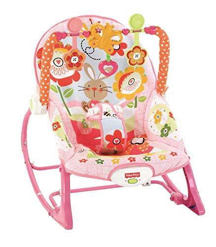 Fisher-Price Hamaca crece conmigo conejitos divertidos rosa para bebé (Mattel Y8184)