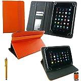 Emartbuy® Hyundai AT7 7 Inch Tablet Universal Serie Naranja 3D Cube Ángulo Múltiples Executive Folio Funda Carcasa Wallet Case Cover Con Tarjeta de Slots + Oro Lápiz Óptico