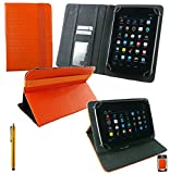 Emartbuy® Connect Me TS-M2743 7 Zoll Tablet Universalbereich Orange 3D Cube Multi Angle Exekutiv Folio Mappen Kasten Abdeckung mit Kartensteckplätze + Gold Eingabestift