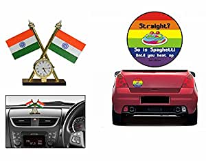 Quirky Car Bumper Sticker-STRAIGHT+Indian Flag With Clock