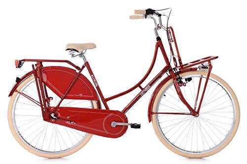 KS Cycling Damen Hollandrad 28'' Tussaud rot 3-Gänge mit Frontgepäckträger RH 53 cm Fahrrad