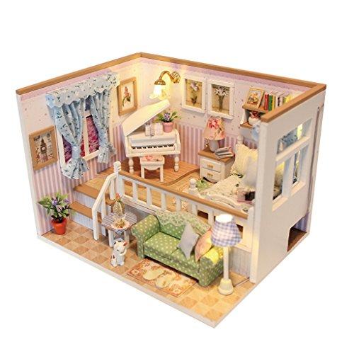 MagiDeal Holz Material Miniatur Puppenhaus Mini Haus LED Licht DIY Dollhouse Kit Möbel Geschenk - # 3, 17 x 13.5 x 12.3cm -