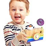 A-PIE Wooden Camera Kaleidoscope Camera Wooden Toy (Blue)
