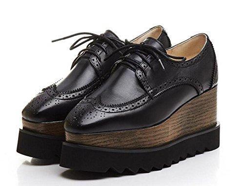 Beauqueen Pumps Aufzugsplattform Mandelförmige Zehenspitze Oxford Lace-Up 2017 Frühling Sommer Mode Casual Büro Schuhe Europa Größe 34-39 Black