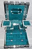 XL stile indiano argento in rilievo in metallo con scatola portagioie blu pavone, BNIB