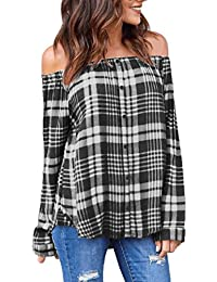 Yuelie Women Plaid Sexy Off Shoulder Long Sleeve Single-Breasted Button Down Pullover T-Shirt Tops Blouse