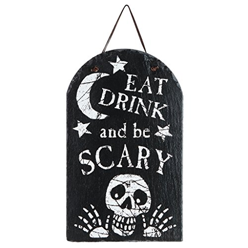 Design Toscano OW47353 Eat, Drink and Be Scary Wandschild, Stein, grau, 1.5 x 23 x 39.5 cm (Halloween Skelton)