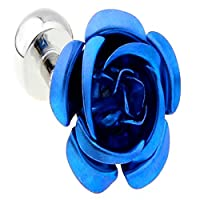 MFYS Romantic Rose Flower Cufflinks for Women with Jewelry Gift Box (Blue)