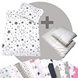 Rawstyle 4 tlg. Set Bezug (STARS) für Kinderwagen Bettwäsche Decke + Kissen + Füllung (Design 6)