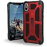 Urban Armor Gear Premium Monarch Schutzhülle nach US-Militärstandard für das Apple iPhone X - Crimson (rot) [Verstärkte Ecken | Sturzfest | Leder | Strukturierter Rahmen | Vergrößerte Tasten] - IPHX-M-CR