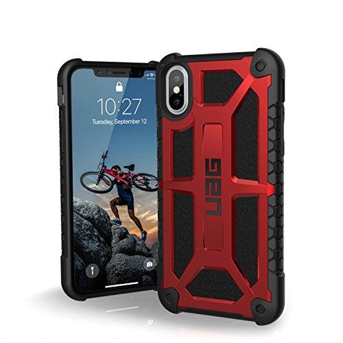 Urban Armor Gear Monarch Hülle für das Apple iPhone Xs / X Handyhülle nach US-Militärstandard [Qi kompatibel, Sturzfest, Verstärkte Ecken, Leder] - Crimson Rot -