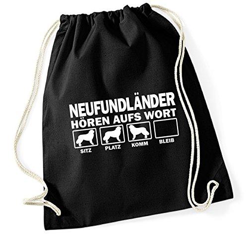Siviwonder Turnbeutel - NEUFUNDLÄNDER Newfoundland Kanada - HÖREN AUFS WORT Baumwoll Tasche Beutel schwarz