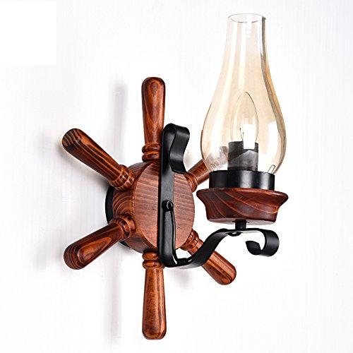 Antike Massivholz (Vintage Massivholz Wandlampen, antike LED Kerzenglas Rudder Persönlichkeit Wohnzimmer Bar Studie Wandleuchte moderne minimalistische Esstisch Cafe Aisle Wandleuchte)