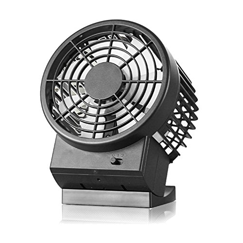 Zindoo ventilador USB Plug, ultra-silencioso portátil retro mini ventilador de escritorio de plástico con ventilador de doble hoja, tienen control de velocidad 2 -Mode | Ventilador para Laptop, Notebook, PC, Escritorio, Mesa, Hogar, Oficina (Negro)