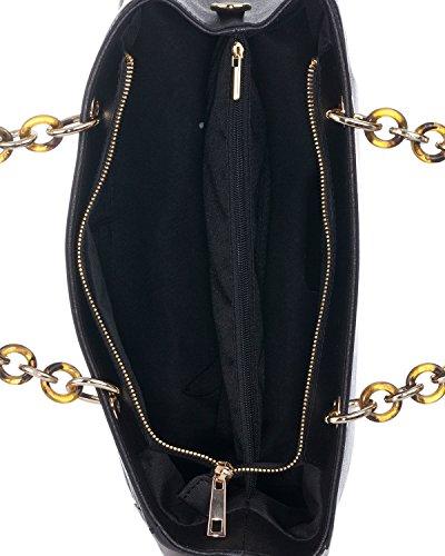 Laura Moretti - Borsa in pelle con cinturino metallico e in pelle Nero
