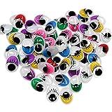 TOAOB Wackelaugen mit Wimpern Oval sortierte mischfarbige 12x16mm DIY Scrapbooking Kunsthandwerk Spielzeug Zubehör Packung mit 154 Stück