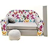 Minicouch Kindersofa Babysofa Sofa Set Sitzkissen Matratze weiche Velours verschiedene Farben (A33 Schmetterlinge)