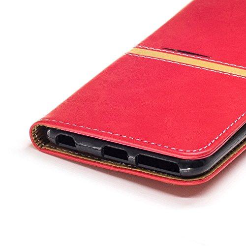 Custodia iPhone 6S, Custodia iPhone 6, Cover iPhone 6, Cover iPhone 6S, ikasus® iPhone 6/iPhone 6S Elegante semplice Custodia Cover [PU Leather] [Shock-Absorption] Cover Custodia colore puro con Super Rosso