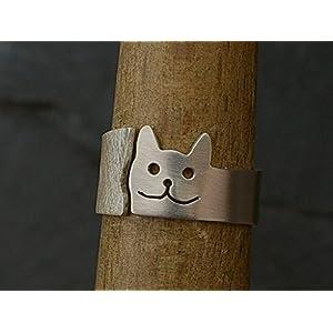 Offener Silberring mit Katzenmotiv glatt und rauh