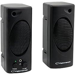 Esperanza TEMPO Multimedia Stereo PC Lautsprecher Computer Boxen mit AUX-Eingang und Volume Control