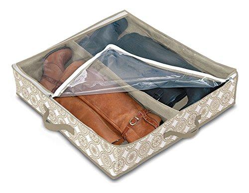 Domopak Living 8001410074300Funda Botas 2Compartimentos Elle, plástico, Blanco/Beige, 50x 60x 12cm