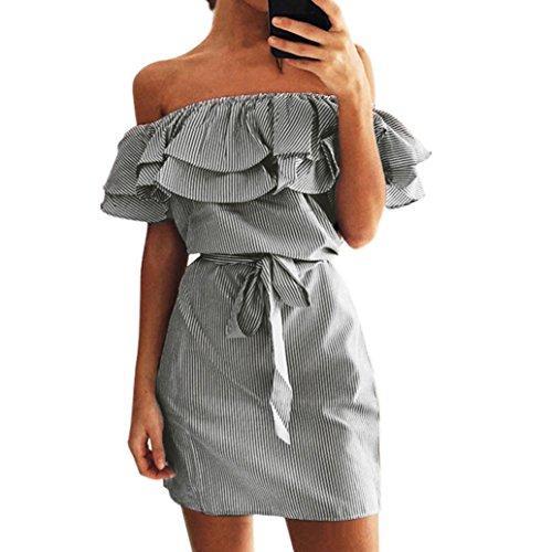 JUTOO Frauen Sommer Striped aus der Schulter Rüschen Kleid mit Gürtel(Schwarz, EU:44/CN:XL)