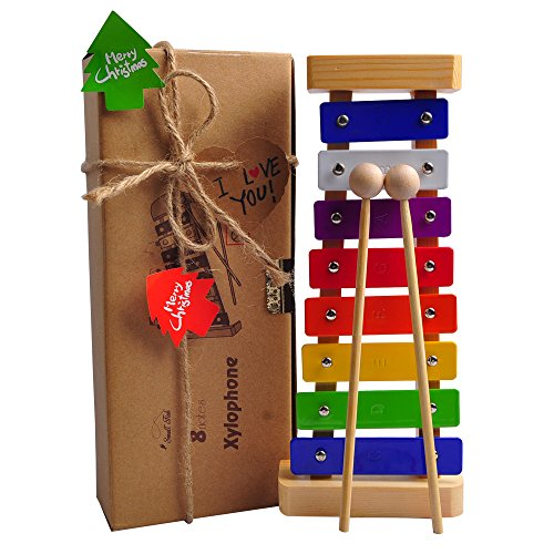 Xylophone Toy for Kids: Best Glockenspiel for Mini Musicians; Educational Percussion Instrument with Bright Multi-Colored Bars and Child-Safe Wooden Mallets; Perfectly 8 Toned Musical Gift for Toddler