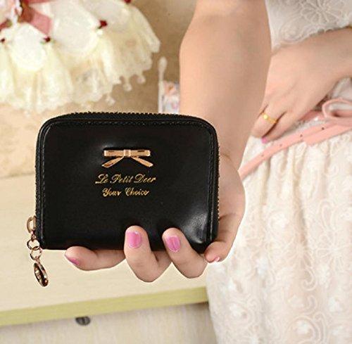 Geldbörsen, Rcool Mode Damen Clutch Geldbörse kurze kleine Tasche PU-Kartenhalter (Schwarz) Schwarz