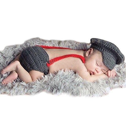 YOEEKU Neugeborenes Baby-Flieger-handgemachtes Häkelarbeit-gestricktes (James Bond Kostüm Baby)